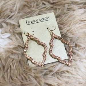 NWT Francesca's Pink & Gold Tone Dangle Earrings